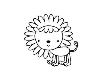 "Cute Lion Stamp, card stamp, gift tags stamp, label stamp, stationary stamp, wild animal stamp, zoo animal stamp, lion, 1"" x 1"" (minis77)"