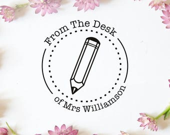 "Custom Teacher Stamp, Personalised Stamp, Classroom Stamp, Teacher Gift, Book Stamp, Library Stamp, Personalized Stamp, 1.7""x1.7"" (cts205)"