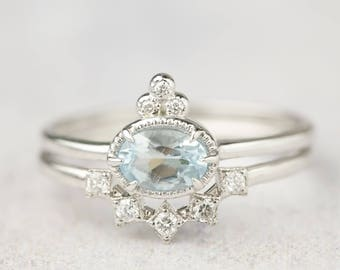 Oval aquamarine engagement gold ring set, Unique aquamarine solitaire ring, March birthstone,  Oval, 14k white gold ring, ado-r106-aqu RTS