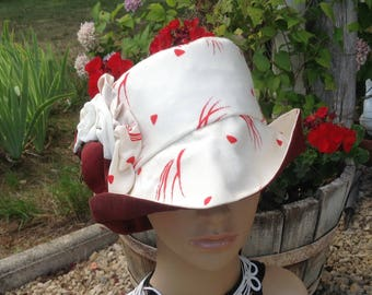 Cheeky, Chic, Small, Elegant Sun Hat. Inspired by 1960s fashion.  Turn up or down. From My New French  Summer Collection