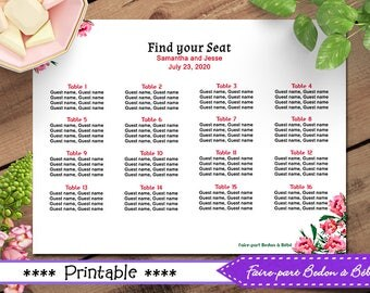 Wedding Seating Chart - Wedding Printable Sign - Wedding Template - Seating Chart - Wedding Sign Template - Seating Chart