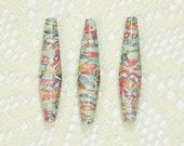 Paper Beads, Focal Beads Handmade Jewelry Supplies Jewelry Making Bohemian Blue Green with Floral