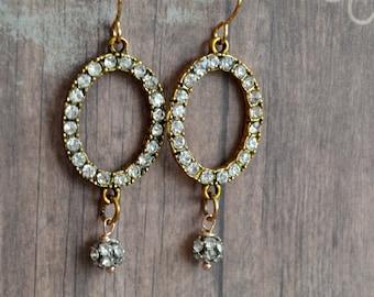 Vintage Style Earrings, Rhinestone Earrings, Gift Idea, Gift For Her, Handmade Earrings, Metal Earrings, Dangle Earrings, Elegant Earrings