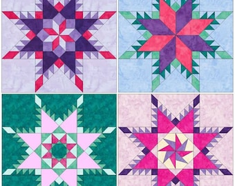 10 Inch Feathered Star Set 1 Paper Foundation Piecing Quilting 4 Block Patterns PDF