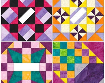 10 Inch Extraordinary Set 1 Paper Foundation Piecing Quilting 4 Block Patterns PDF