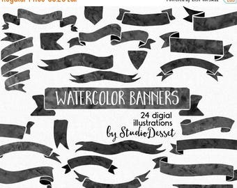SUMMER SALE - 55% OFF Watercolor Banners, Ribbons Clipart, Black Ribbons, Wedding Illustration, Diy Elements, Vintage, Clip art Commercial U