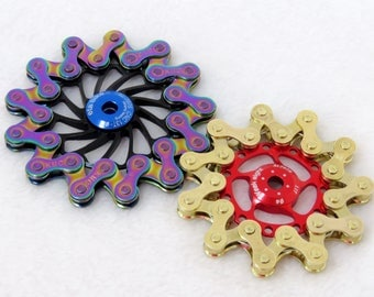 Bike Chain Fidget Spinner: beautiful, balanced, quiet, extended spin. Unique hand crafted piece from upcycled bike parts & ceramic bearings