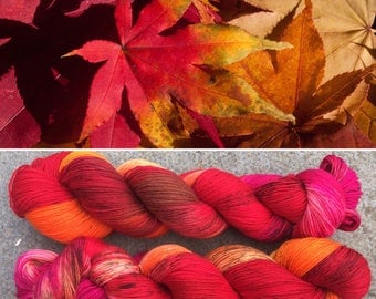 Autumn is Here, indie dyed merino nylon sock yarn in fall colours