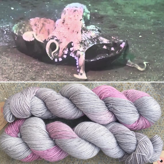 Coconut Octopus Sparkle Single Ply, merino fingering yarn with silver sparkle