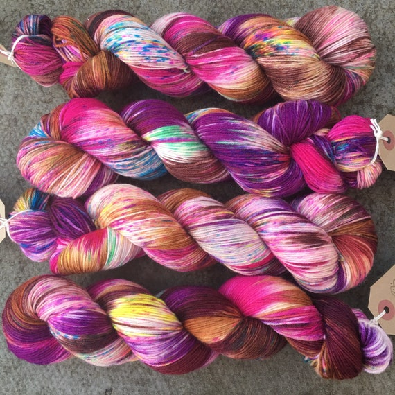 Party Season, purple speckled merino nylon indie dyed sock yarn