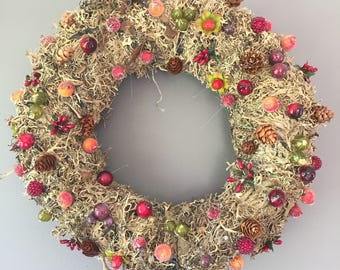 Autumn wreath - berry wreath - cone wreath - mossed wreath - natural wreath.