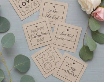 Printable Valentine's Day Multi-Purpose Cards (Black) - INSTANT DOWNLOAD - Gift Tags, Note Cards, Place Setting Cards, Decor