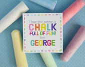 Chalk full if fun end of the year  PERSONALIZED 3 inch square tags PRINTABLE