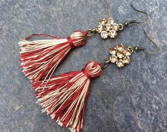 tassel earrings boho earrings bohemian beaded earrings Game Day tassel earrings long dangle flower earrings college colors team spirit