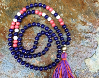 Long Beaded tassel necklace purple orange wood beaded necklace Bohemian necklace boho necklace ladies necklace Game Day long beaded necklace