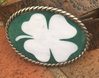 Four leaf clover belt buckle bohemian belt buckle hippie belt buckle mens belt buckle women's belt buckle shamrock or yellow bird