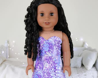 18 inch doll purple marble print skirt & bustier | color of the year