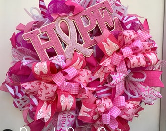 Breast Cancer Wreath, Pink Breast Cancer Deco Mesh Wreath, Pink Breast Cancer Wreath, Hope Breast Cancer Wreath, Breast Cancer Wreath, Hope