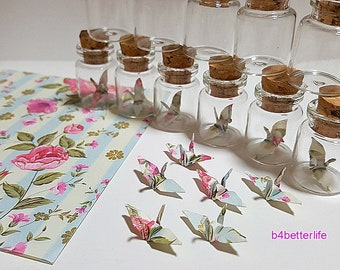 Lot of 12pcs Floral Design 1-inch Hand-folded Paper Crane In A Mini Glass Bottle With Cork. (JD paper series). #CIB12m.