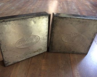 Pair Of Delacre Tin Biscuit Box Vintage/Industrial Silver Boxes