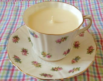 Vintage Old Royal Bone China Tea Cup Candle with Saucer