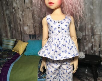 Fits 45cm Kaye Wiggs MSD dolls such as Izzy -  White and blue floral pjs