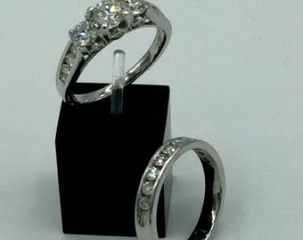 14kt Vintage White Gold Diamond Engagement Ring and Wedding Band Set