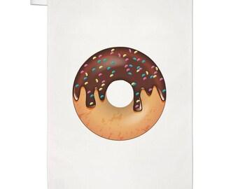 Chocolate Sprinkled Glazed Doughnut Tea Towel Dish Cloth