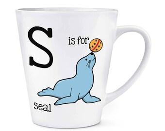Letter S Is For Seal 12oz Latte Mug Cup