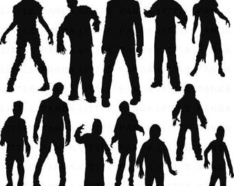 70% OFF SALE Zombie Silhouettes Digital Clip Art - Personal and Commercial Use - Instant Download - D375