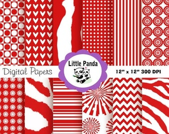 60% OFF SALE Red Zebra Digital Paper Pack, Scrapbook Papers, 12 jpg files 12 x 12  - Instant Download - D34