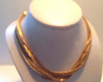 Vintage Multi Strand Snake Chain Statement Necklace