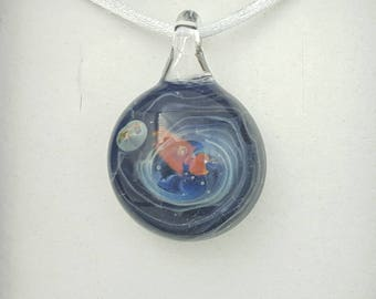 starship pendant, galaxy pendant, sparkling gift, show stopper, eye catching jewellery, spaceship  universe necklace