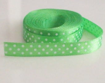satin ribbon green ☆ dots by the yard