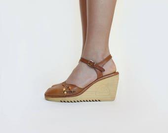 1970s Beaded Ankle Strap Wedges { 7 } Vintage 70s Southwest Sandals