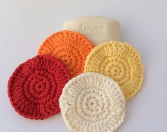 Crocheted Face/Body Scrubbies 100% Cotton, set of 4, reusable, eco-frendly-Red, Orange, Yellow, Cream