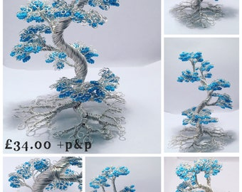 Wire tree sculptures, beaded trees, beaded tree sculpture, cherry blossom, blossom tree, bonsai tree, unique gift, gifts for the home