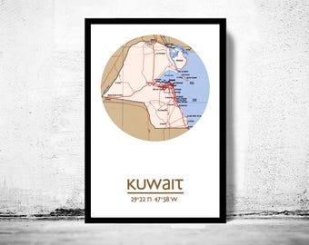 KUWAIT - city poster - city map poster print