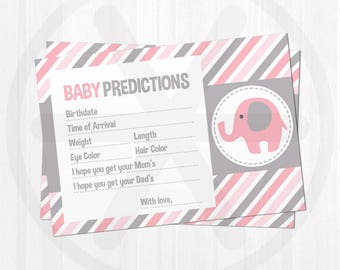 Baby Predictions Cards - Baby Shower Predictions - Pink Elephant Baby Shower Printable Games - Girl Baby Shower Keepsake