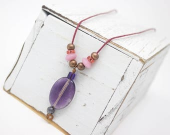 Purple Fluorite Pendant, Colorful Gemstone Pendant,  Healing Gemstone, Unique Gemstone Pendant,