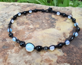 Hemp Necklace, Opalite Choker,  Handmade Jewelry, Gift for Her, Hemp Jewelry, Black Hemp Necklace, Opalite Necklace, Womens Gift, Hemp