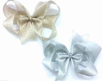 Gold Hair Bow , Silver Hair Bow , Metallic Hair Bow , Glitter Hair Bow , 5 Inch Bows , Sparkle Hair Bow , Hair Bow Set , Gold Glitter Bow