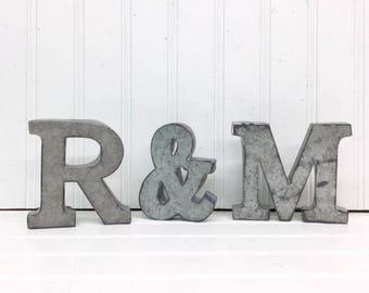 Metal Letters/Wall Decor/Galvanized Metal Letters/Wall Letters/Wedding Decor/Rustic Wedding/Wall Decor/Initial/Nursery/Shelf Letters