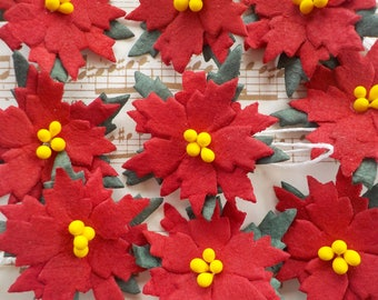 100 Paper Poinsettias, Handmade Mulberry Paper, Poinsettia Flowers, Christmas Card Making, Paper Embellishments, Red Paper Flowers