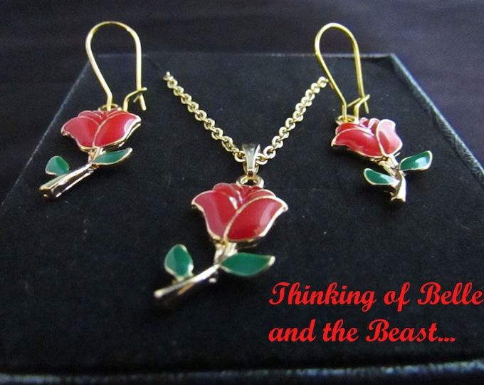 Calling all Beauty and the Beast Lovers! Earrings, Chain and Pendant Jewelry Set