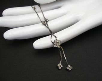 Art Deco Era Rhinestone Lavaliere Necklace, Delicate Rhinestone and Silver Necklace