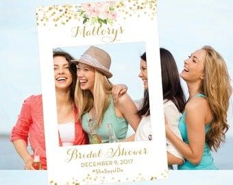 Bridal Shower Photo Prop - Photo Booth Prop - Wedding Photo Prop Frame - Floral Selfie Frame - Digital Printable Pink Flowers - The Chloe