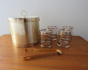 Georges Briard Ice Bucket and Low Ball Glasses Set of 4 Gold Stripe Design