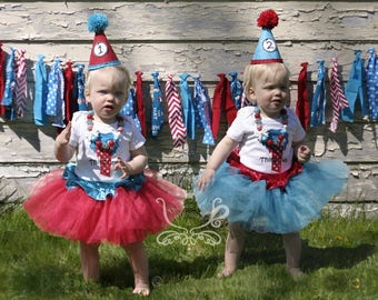 1st Birthday Dr Seuss Thing 1 Thing 2 Outfit. Cake Smash. Photo Prop. Twin Birthday. 3 Piece OR 4 Piece Set. Chunky Necklace Party Hat Tutu