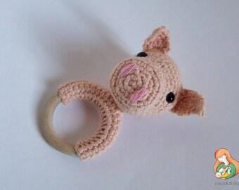 Teething Ring Piggy Pink Piglet